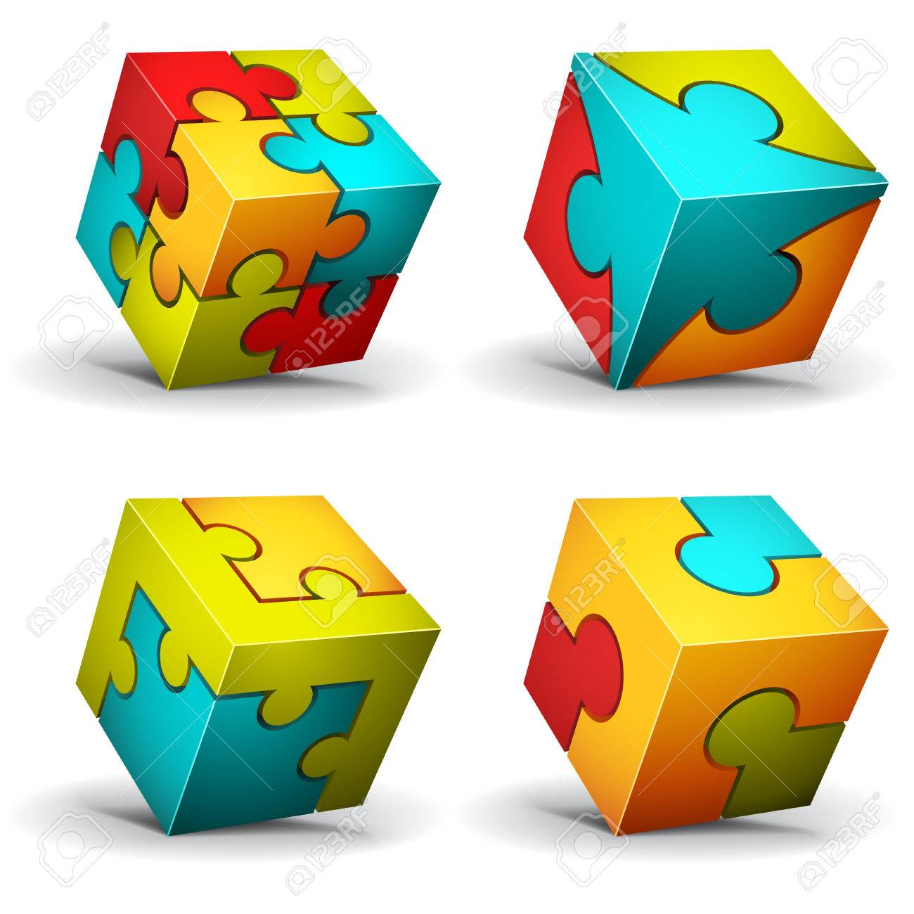illustration of cubes made of puzzle - 25398405
