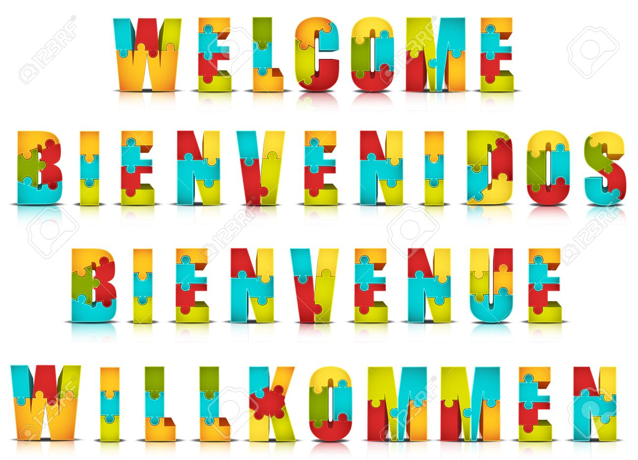 Vector illustration of different languages welcome words made