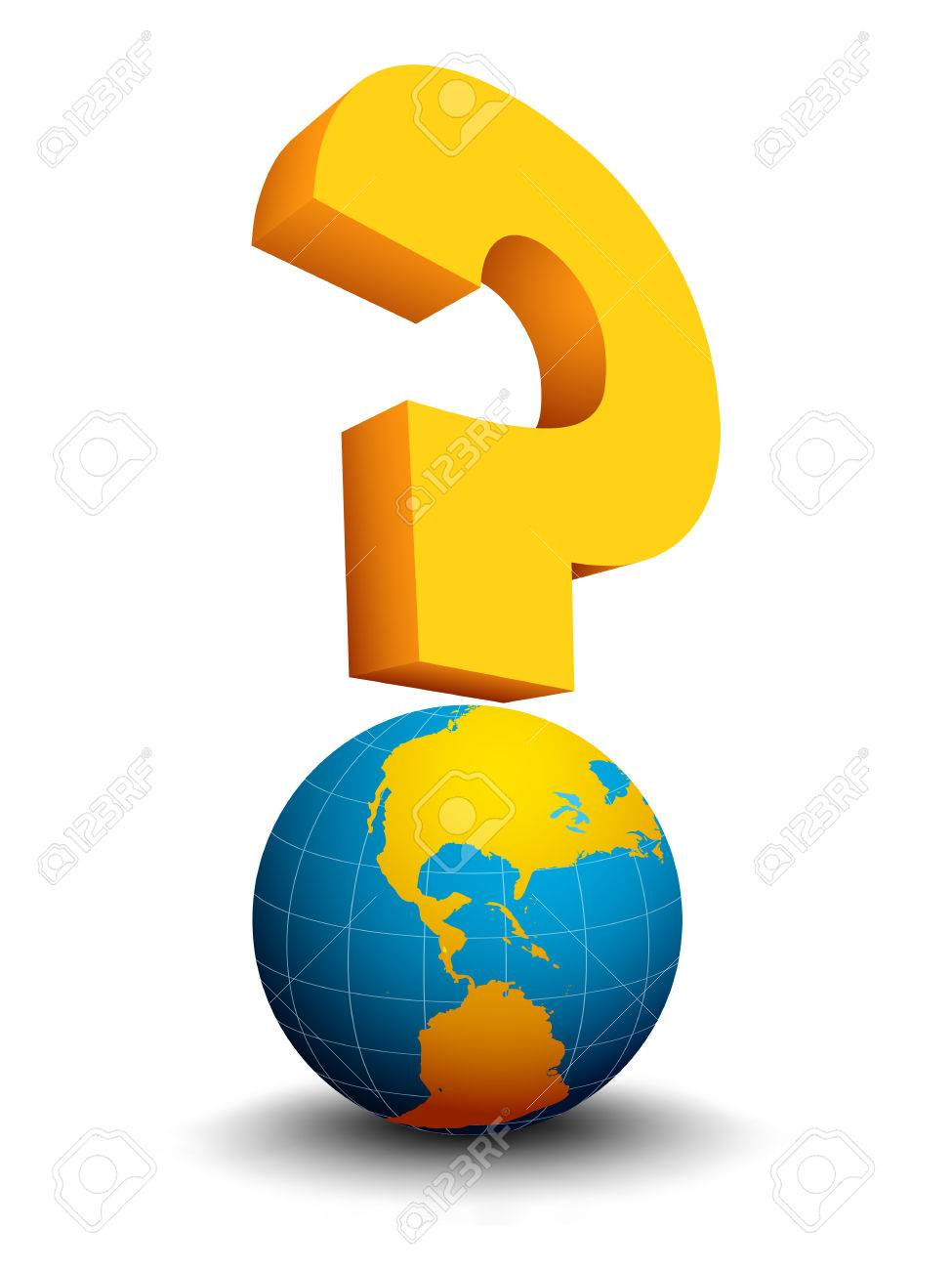 Abstract concept with globe and question mark. It can be used for different global problems, questions, processes, such as global warming, financial crisis etc. Colors are fully editable. Stock Vector - 26341489
