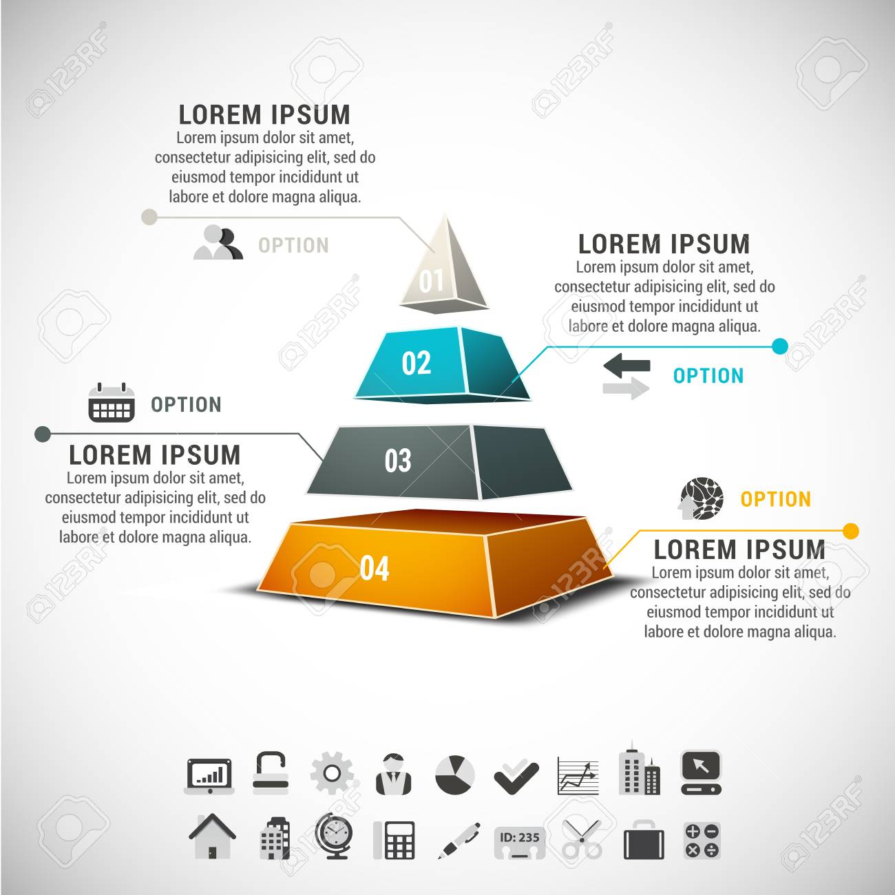 Business infographic made of pyramid. - 30906468