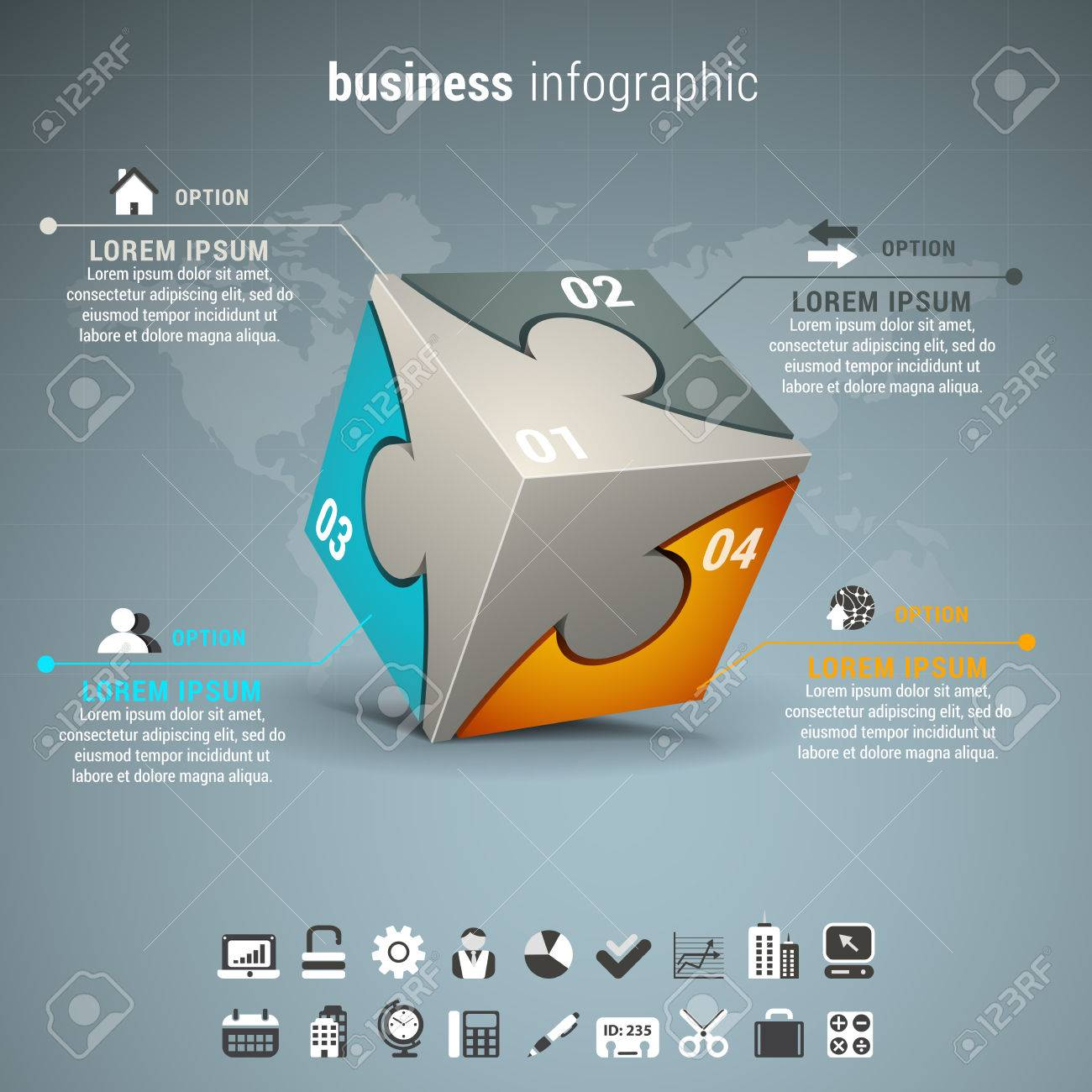 Vector illustration of business infographic with cube made of puzzle. - 43892467