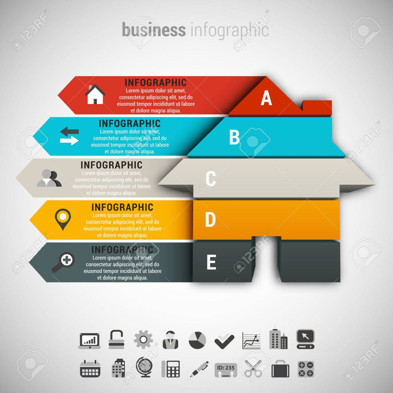 Vector illustration of business infographic made of house. - 48962174
