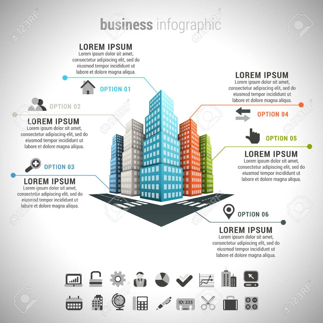 Vector illustration of business infographic made of buildings. - 49137987
