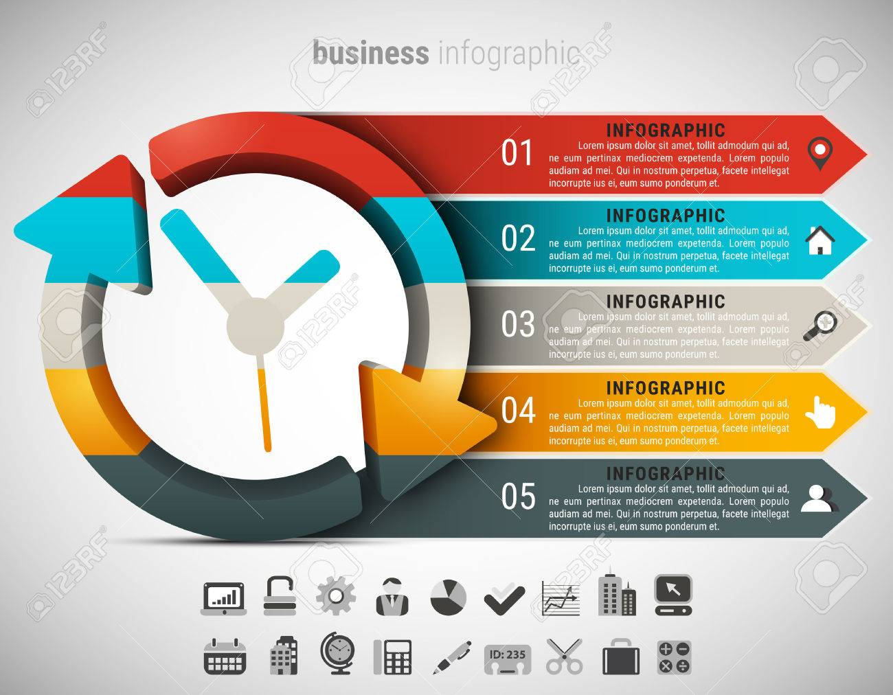 Creative business infographic made of clock. Vector illustration. - 50242753