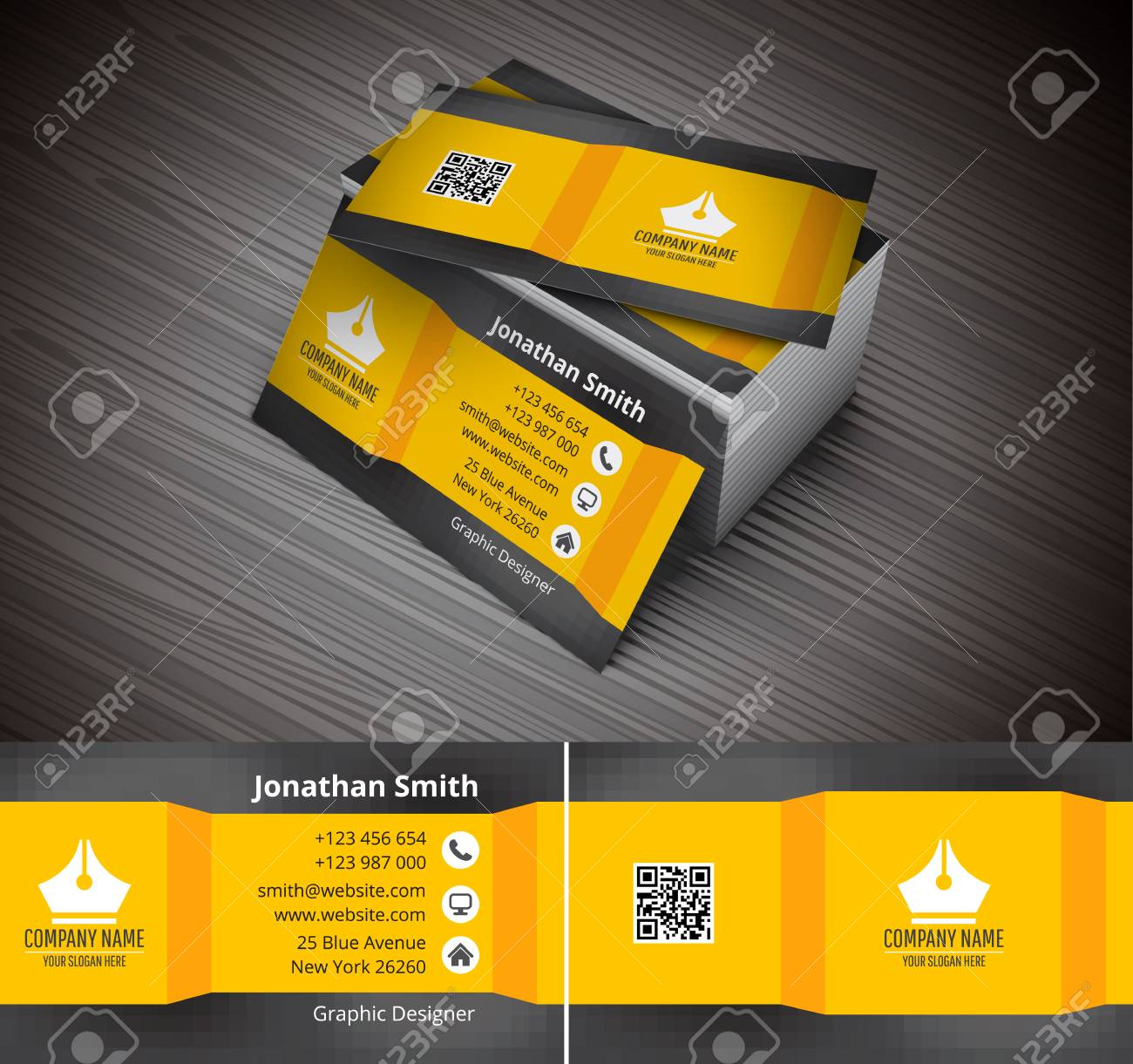 Vector illustration of creative business card. - 52985129