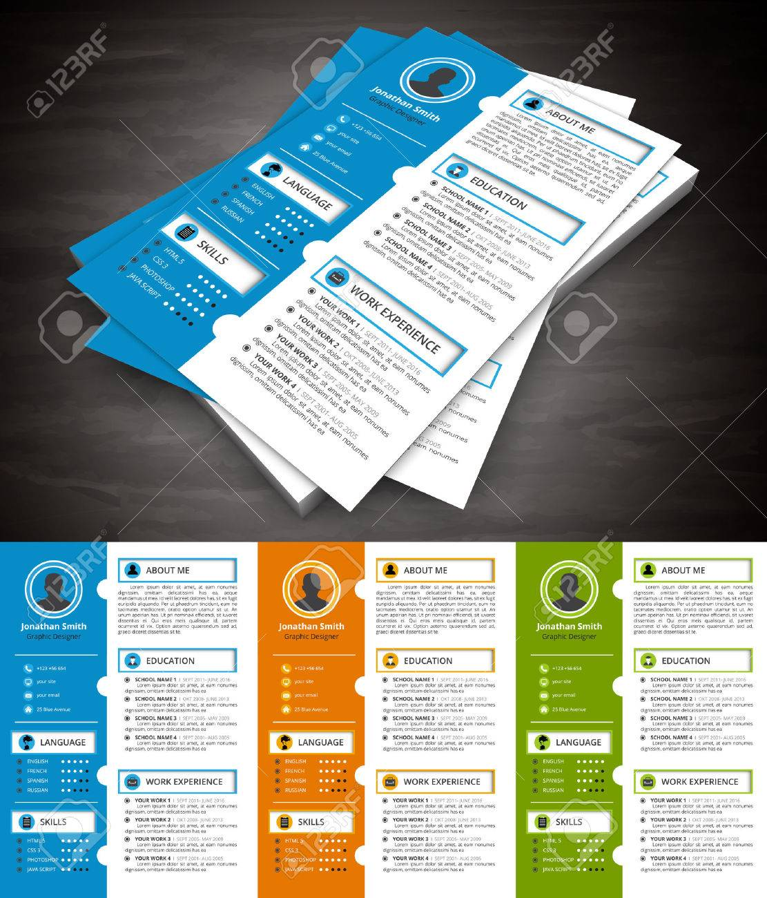 Illustration Of Creative Resume Template. Royalty Free Cliparts