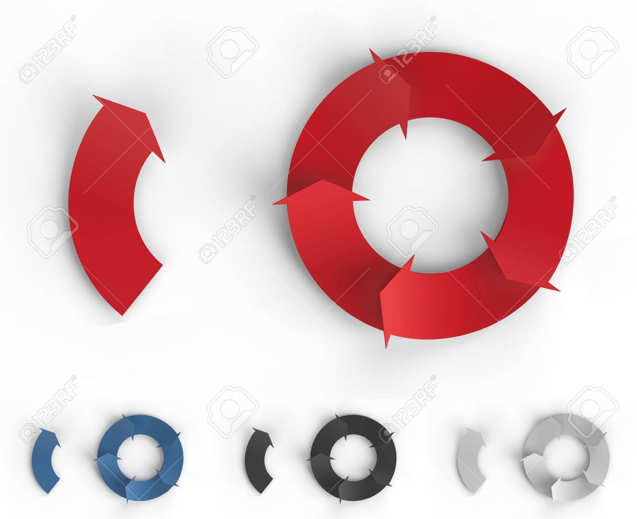 A red cycle of arrows for making business infographics. Stock Photo - 19398494