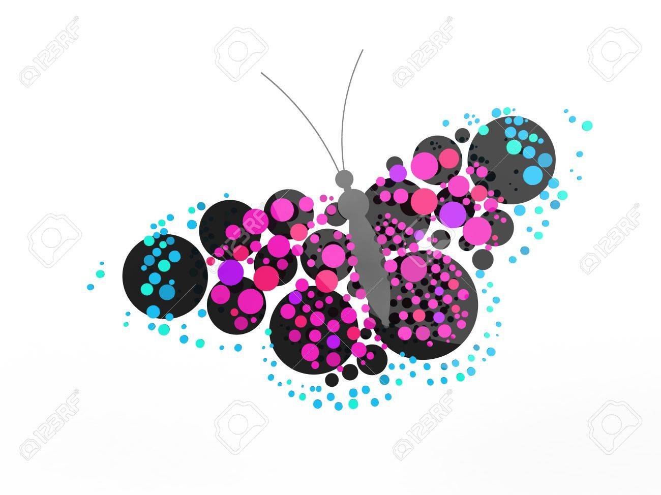 A rendered butterfly composed mostly of circles. Can be used as a logo or icon. Stock Photo - 19398526