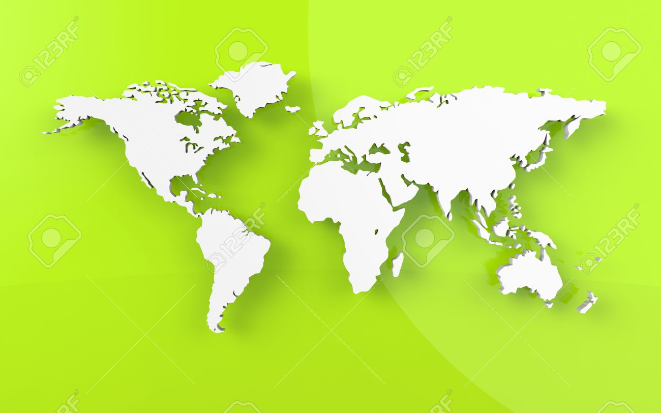 Beautiful Map Of The World.Beautiful World Map On Green Background Stock Photo Picture And