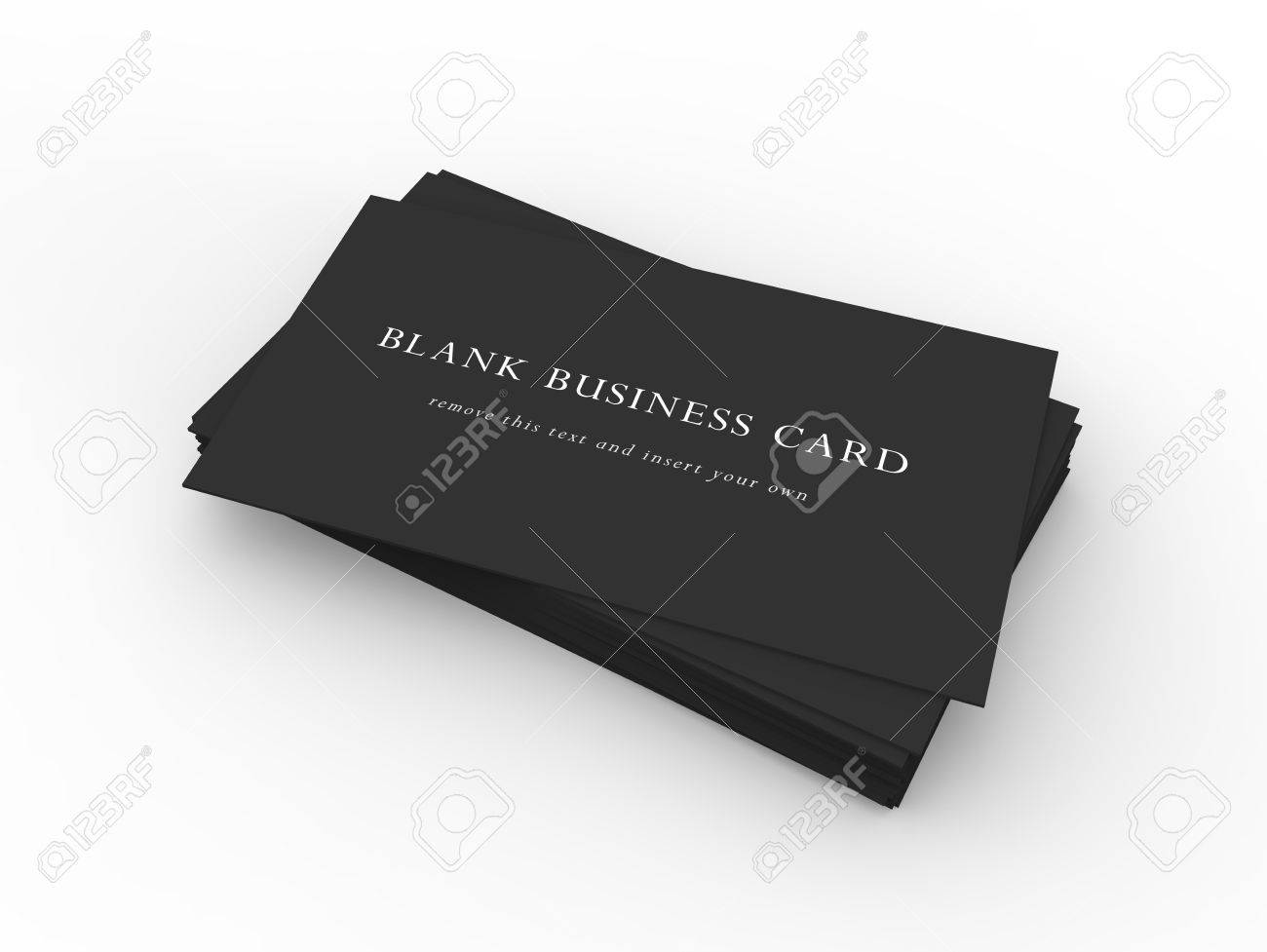 A Stack Of Black Business Cards On A Dark Wood Desktop Easy.. Stock ...