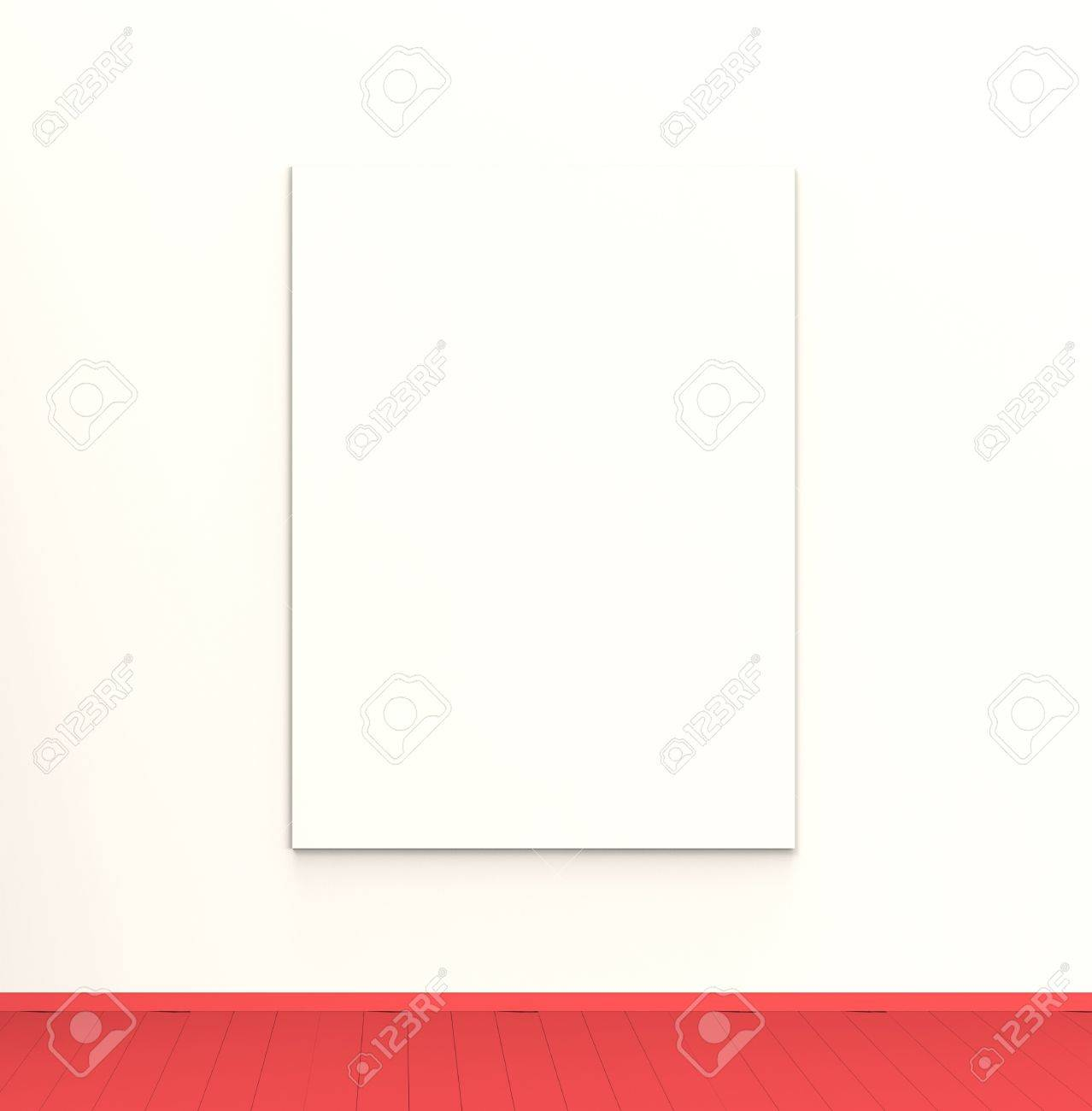 A blank canvas hanging in a beautiful modern interior  You an easily insert your own artwork or message Stock Photo - 19532238