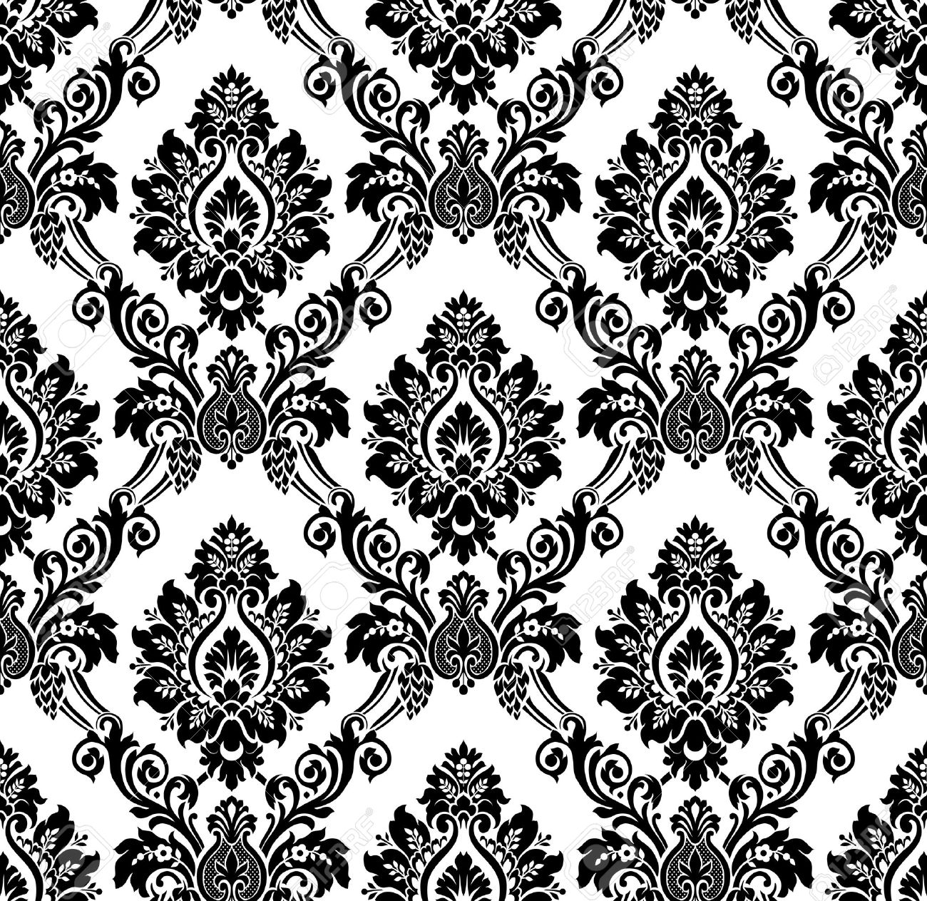 Vector vector seamless damask pattern vintage wallpaper black and white