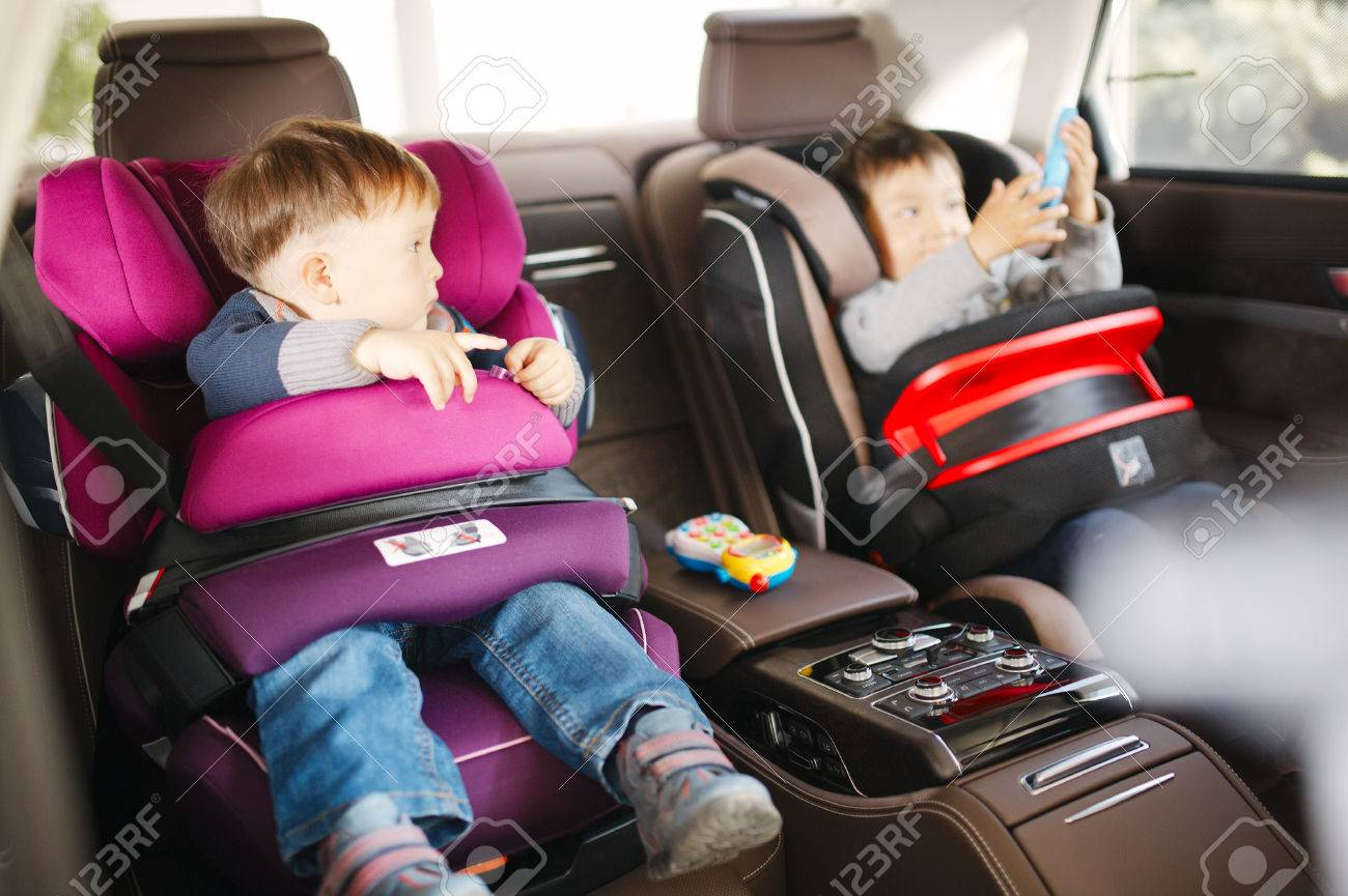 Luxury Baby Car Seat For Safety With Happy Kids Stock Photo Picture