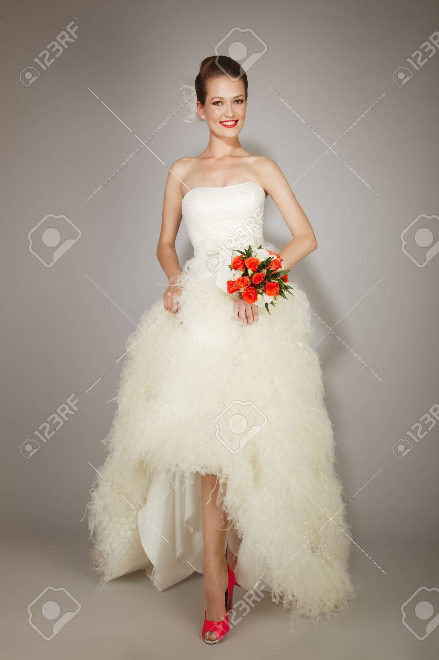 Beauty Young Bride Dressed In Elegance White Wedding Dress Stock
