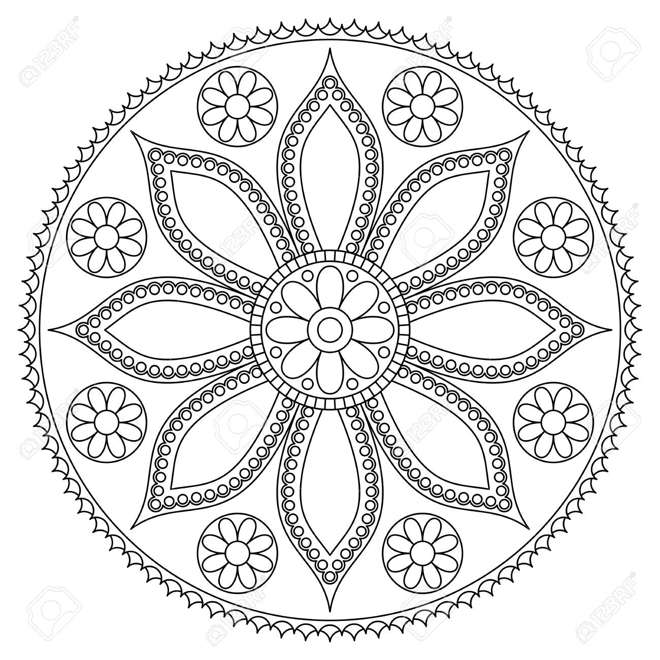 Black And White Mandala With Floral Pattern Antistress Coloring Royalty Free Cliparts Vectors And Stock Illustration Image 138539946