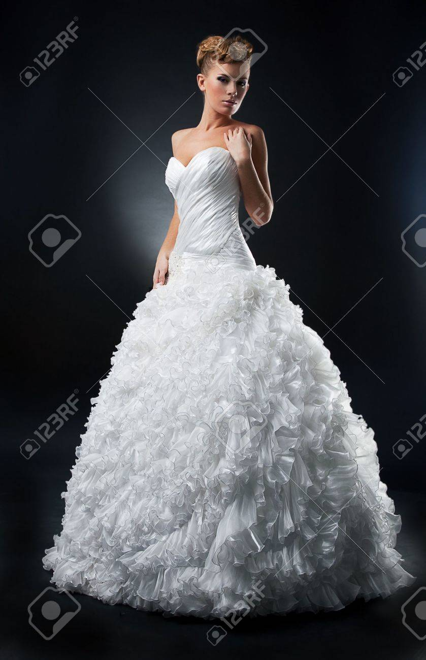 Sensual Lovely Bride Shows White Wedding Dress Stock Photo, Picture ...