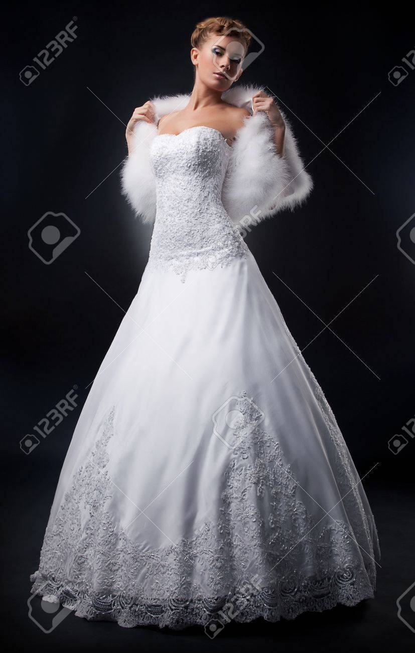 Spectacular Pretty Bride Blonde In Nuptial White Dress Stock Photo ...