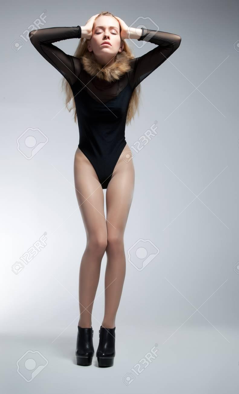 Sensual skinny young woman blonde posing in studio Stock Photo - 12056596