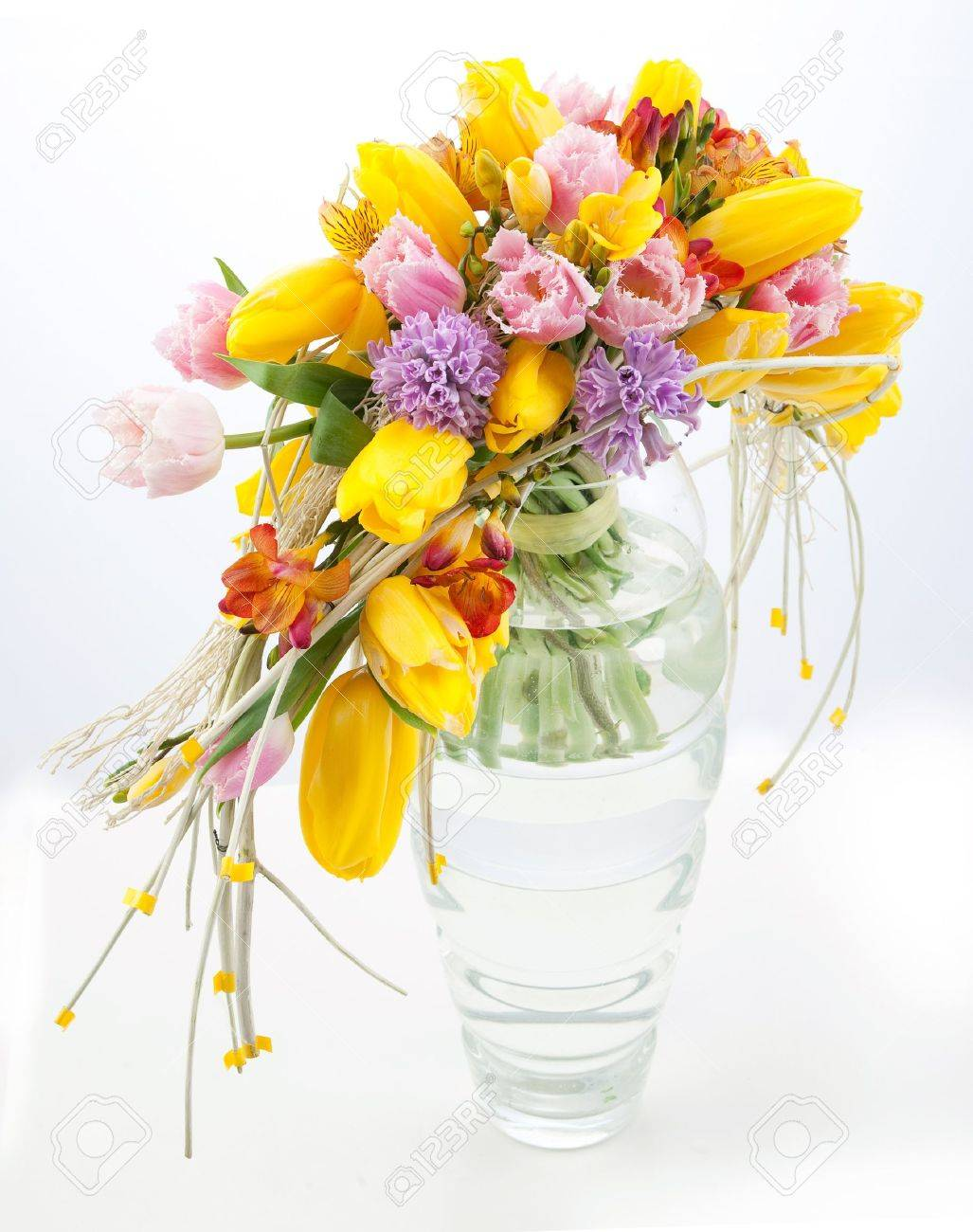 Colorful bouquet of spring flowers in vase Stock Photo - 12433227