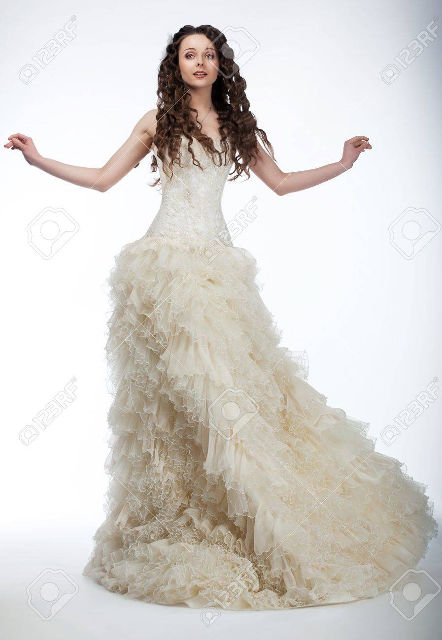 Happy Beautiful Woman With Long Curly Hair In Luxurious Wedding ...