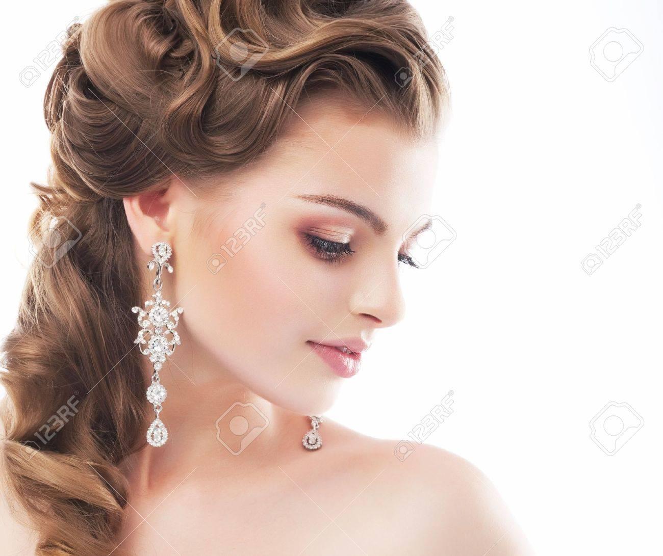 Portrait of beautiful female wedding model isolated on white background Stock Photo - 14130503