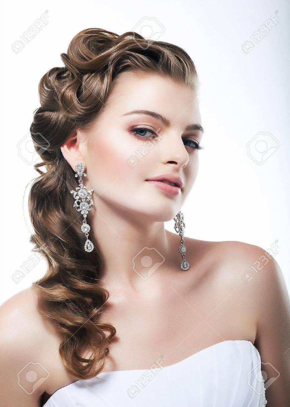 White dress and makeup - Beautiful Bride In White Dress Festive Coiffure And Makeup Stock Photo 14257217