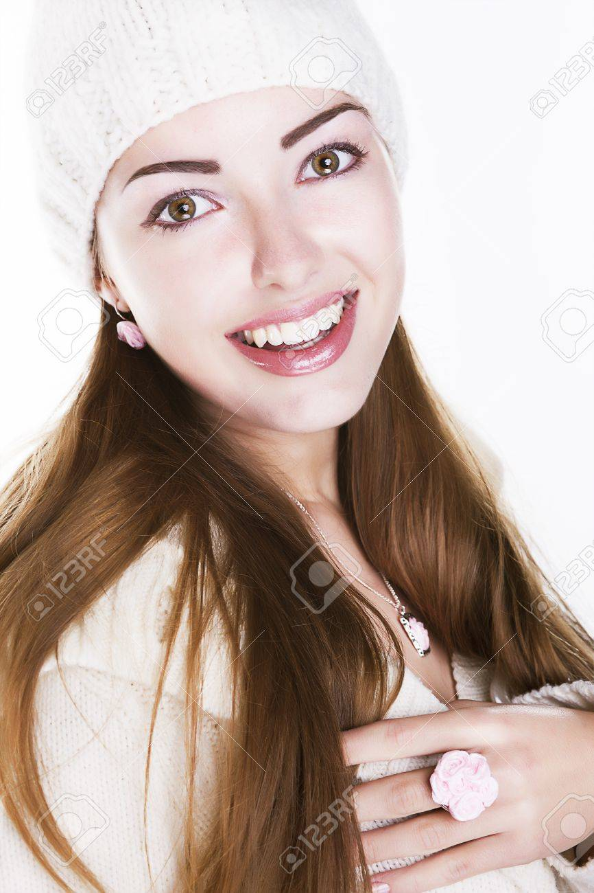 Delighted happy woman face smiling Stock Photo - 16190594