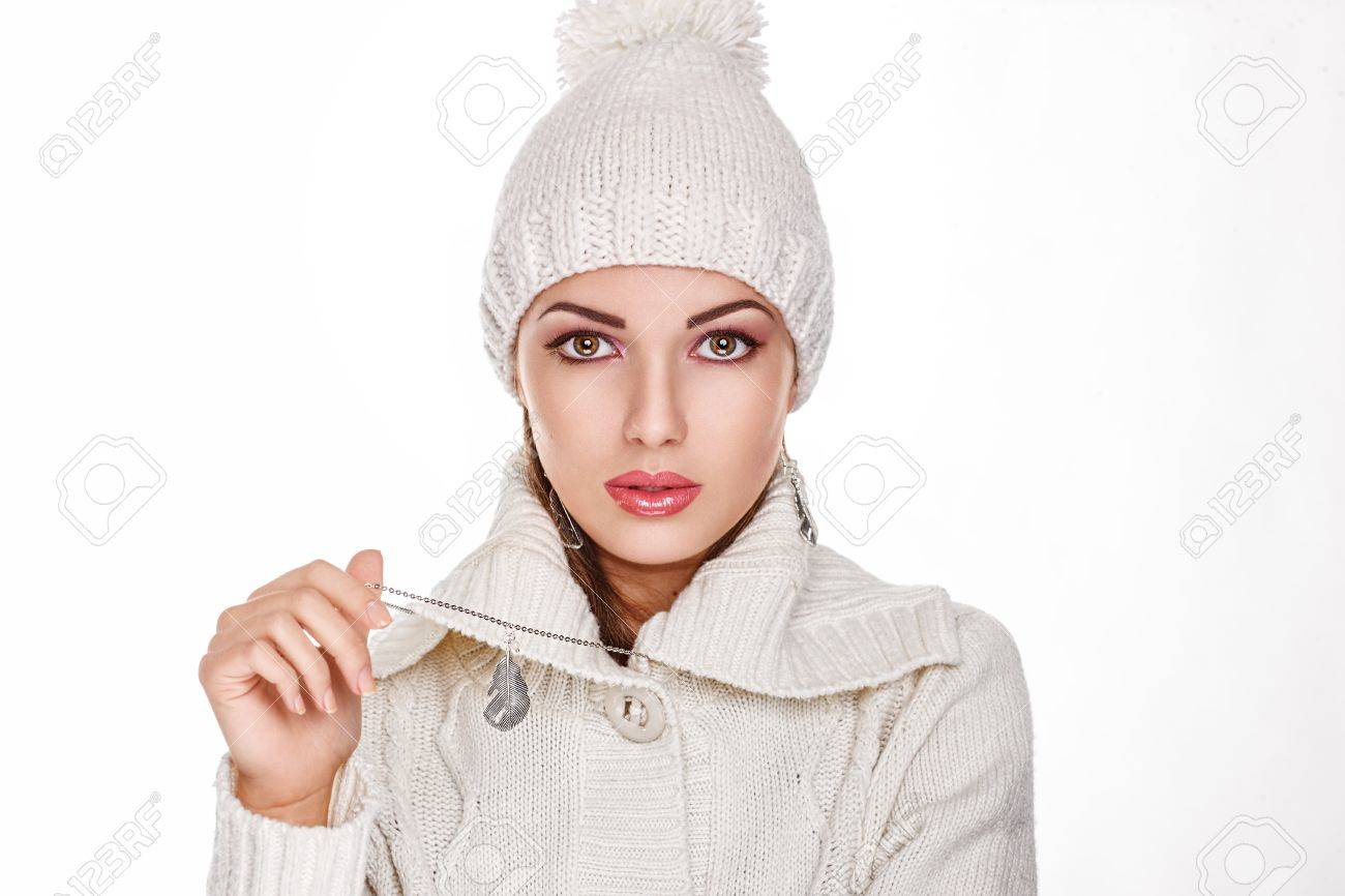 Fresh female Face in White Knitted hat- Winter Style Stock Photo - 16717830