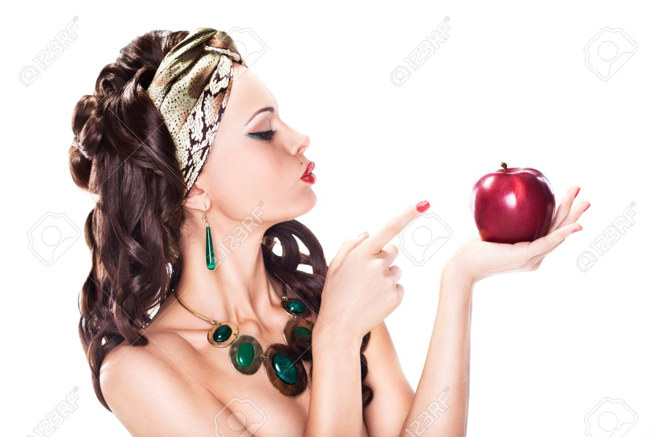 Beauty Woman Choosing a Healthy Apple - Dieting concept Stock Photo - 16734293