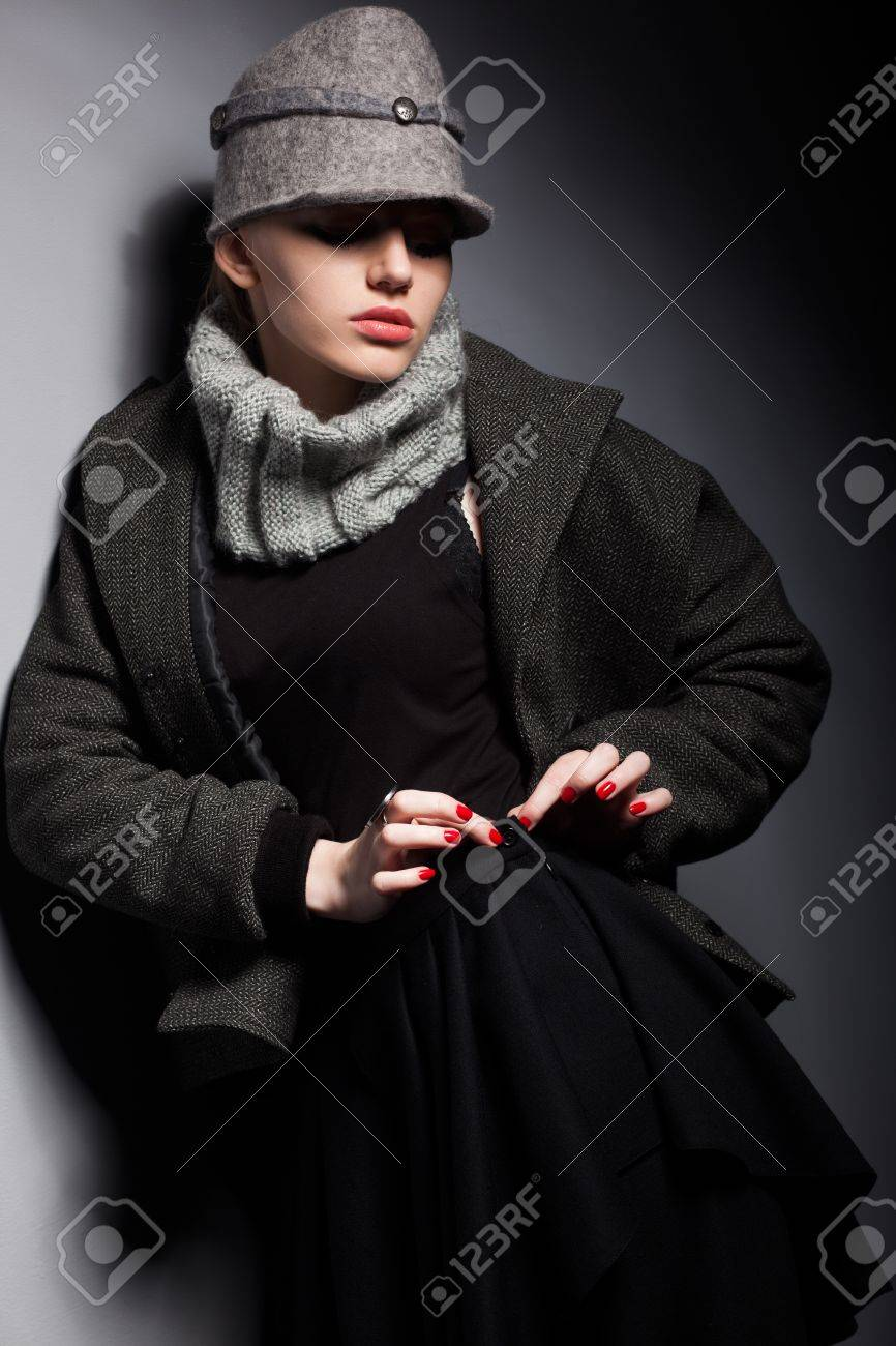 Trendy Woman Mod in Wool hat and Jacket - Season Collection Stock Photo - 16854838