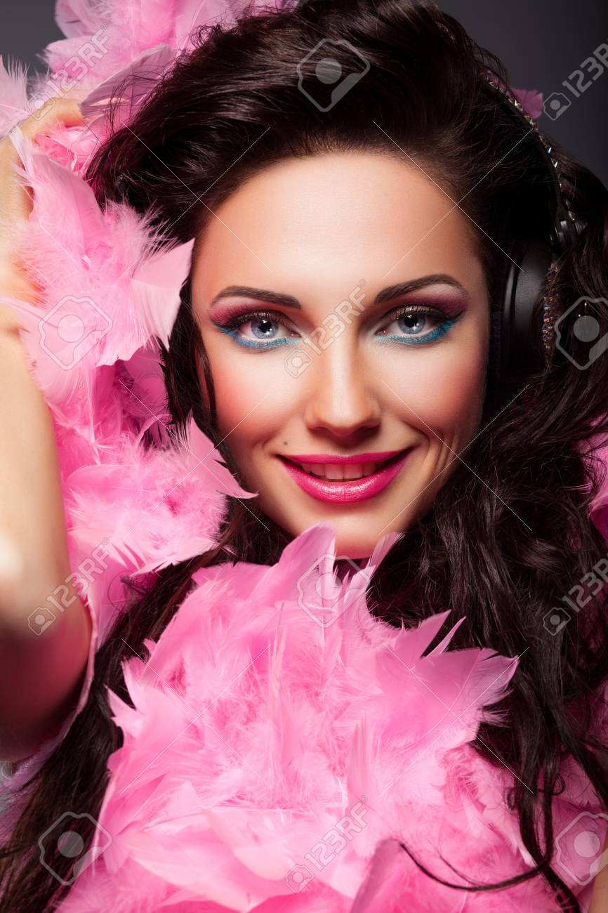 Happy Fashion Woman Face with Feathers Closeup Portrait Stock Photo - 16972531