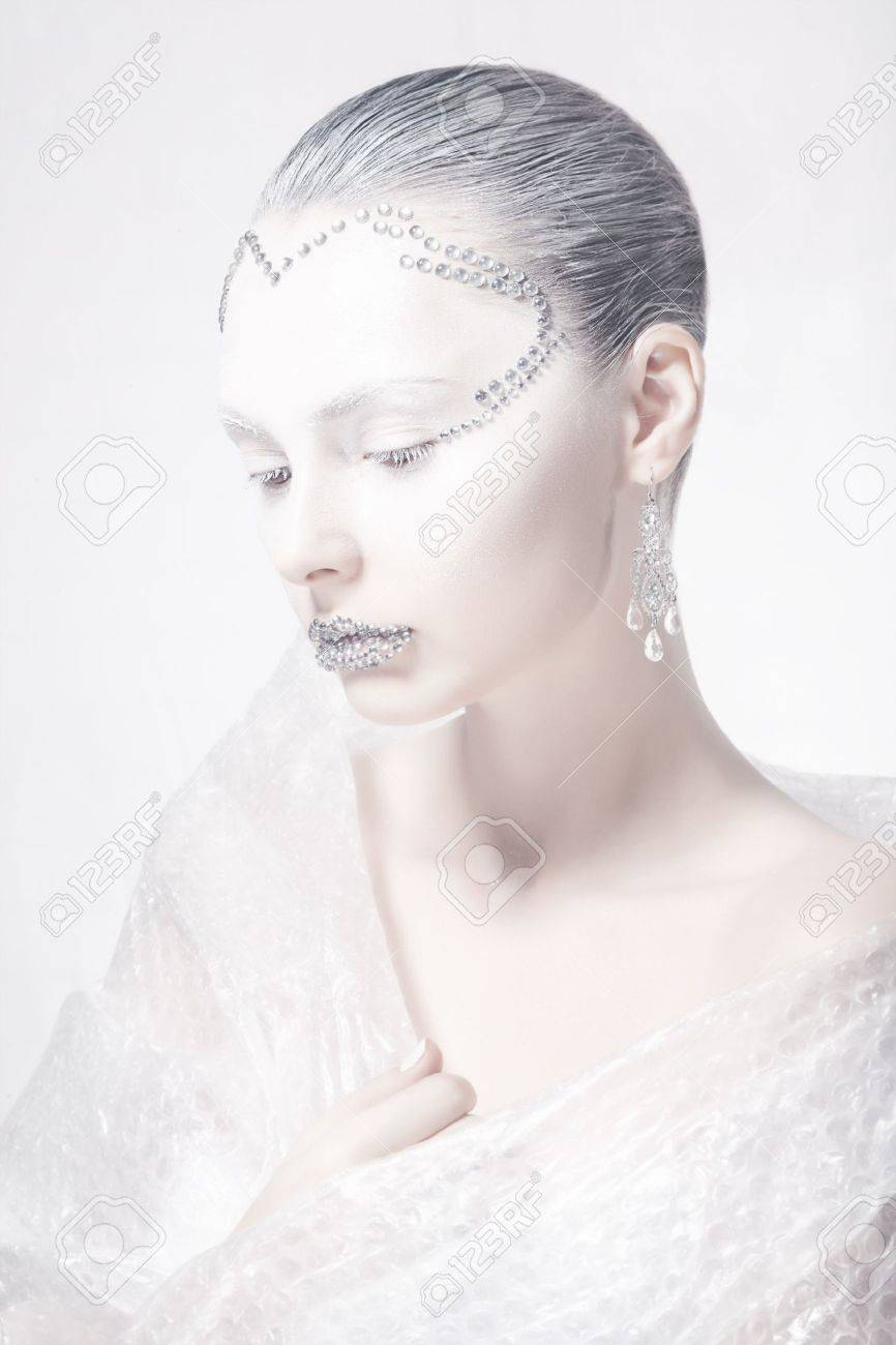 Theater  Profile of Woman Face - Creative Carnival Makeup Stock Photo - 17156748