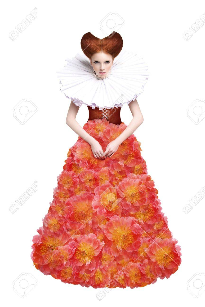 Red Hair Duchess. Retro Fashion Woman in Classic Jabot. Renaissance. Fantasy Stock Photo - 17221072