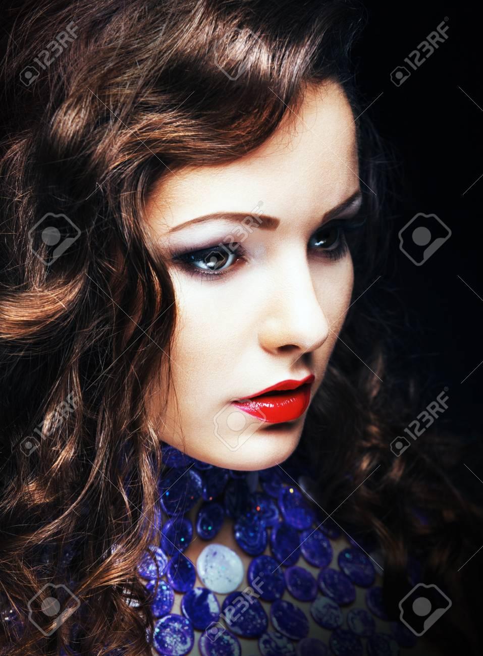 Charming Romantic Brunette Woman Closeup Portrait Stock Photo - 17288340