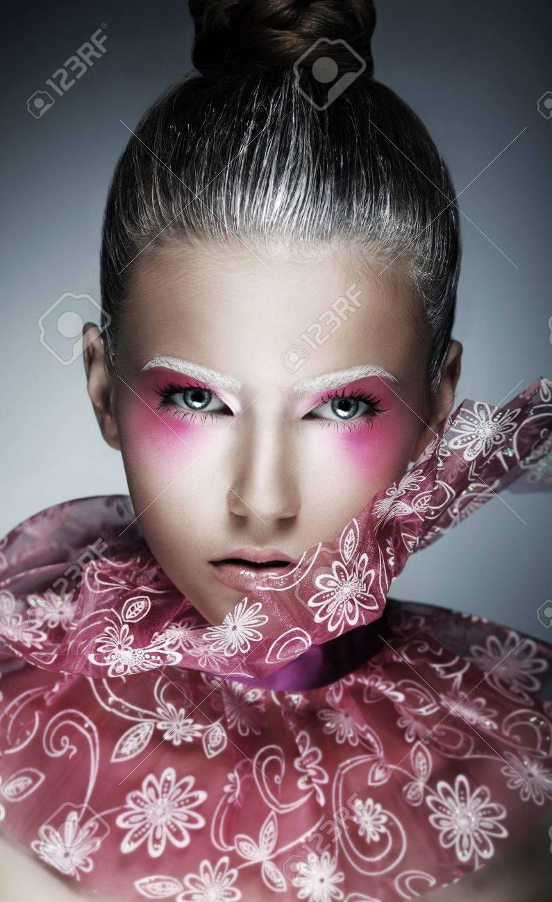 Stylish Woman with Creative Face - Art. Bright Purple Makeup Stock Photo - 17387021