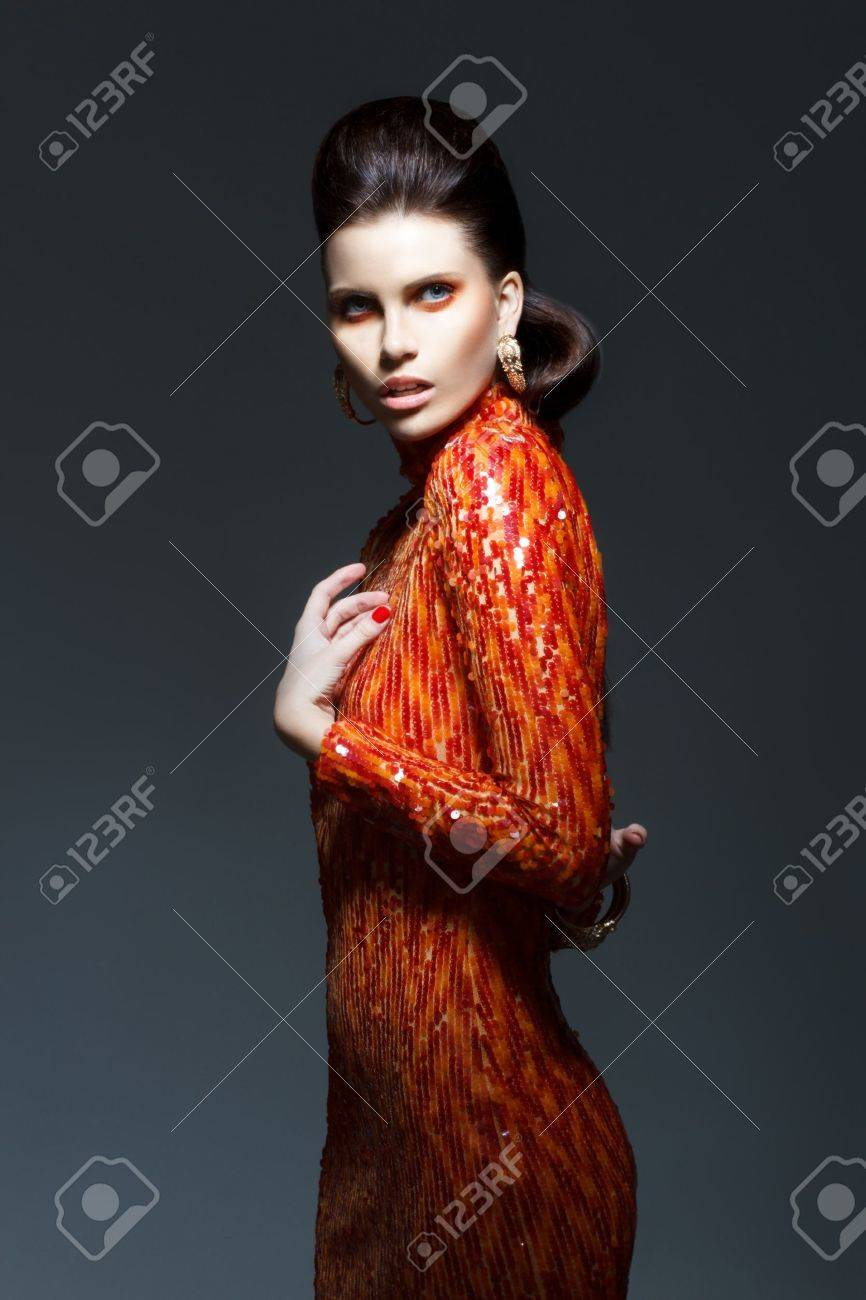 Sophisticated Stylish Woman in Evening Shiny Dress - High Society Stock Photo - 17934675