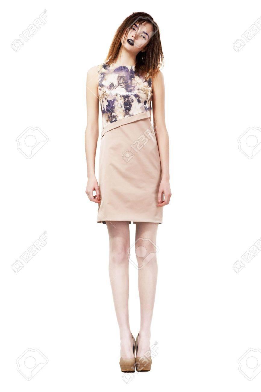 Beautiful Fashion Model standing on Podium. Series of photos - 18231503