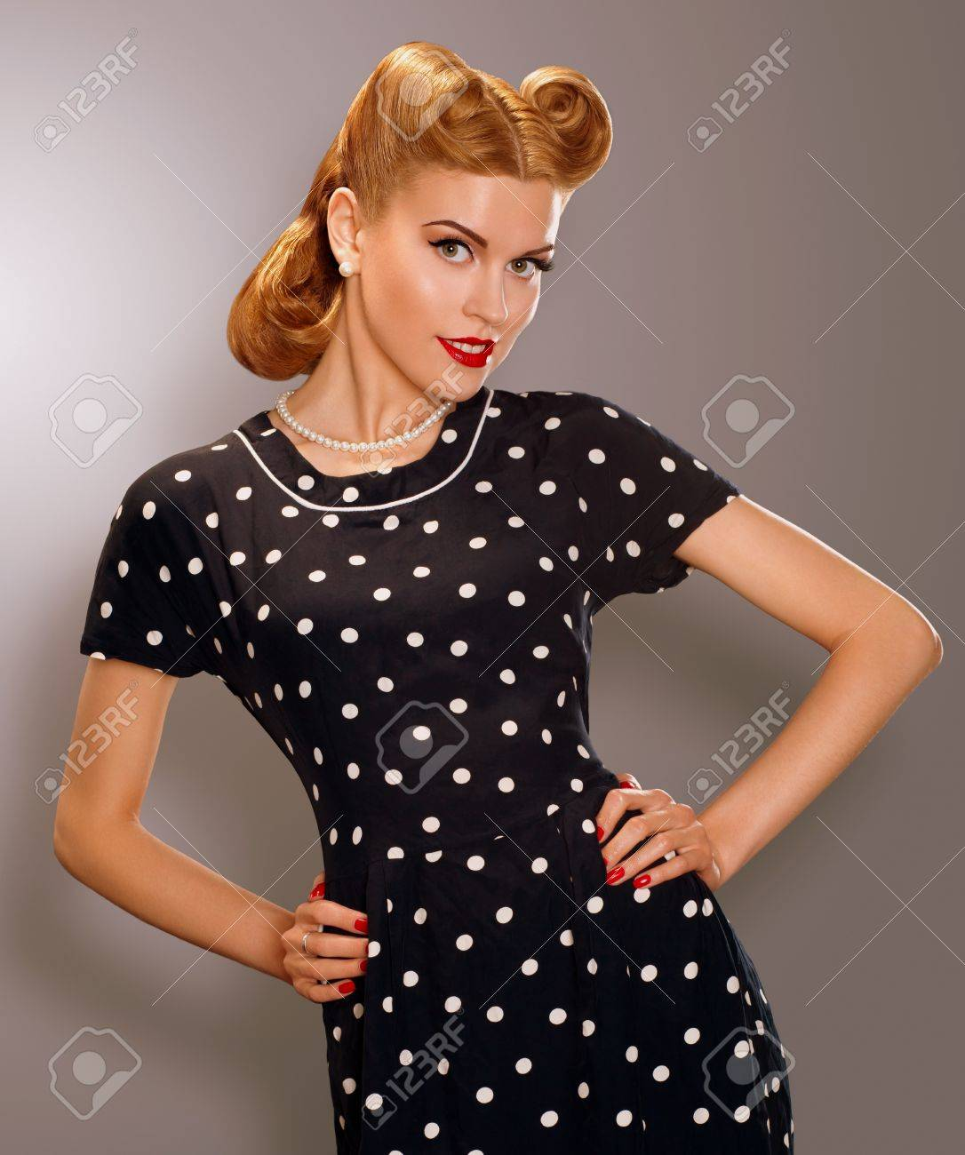 Romance Styled Woman In Blue Retro Polka Dot Dress Pin Up Style ...