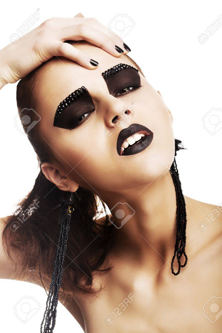 Expressive Emotions. Funky Woman Hipster with Crazy Black Makeup. Creativity Stock Photo - 19146425