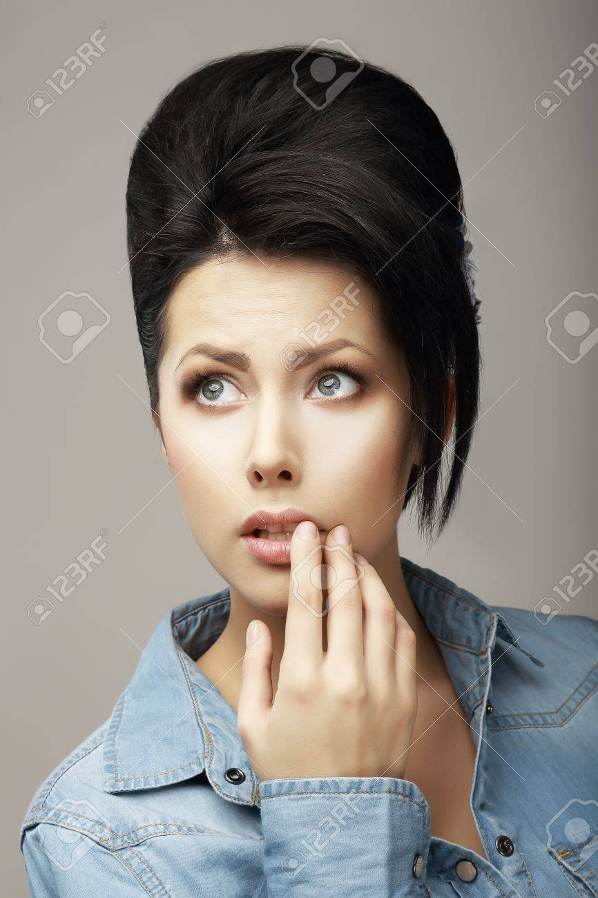Neatness. Adorable Teen Girl with Black Hairs and Guiff  Daydreaming Stock Photo - 19537242