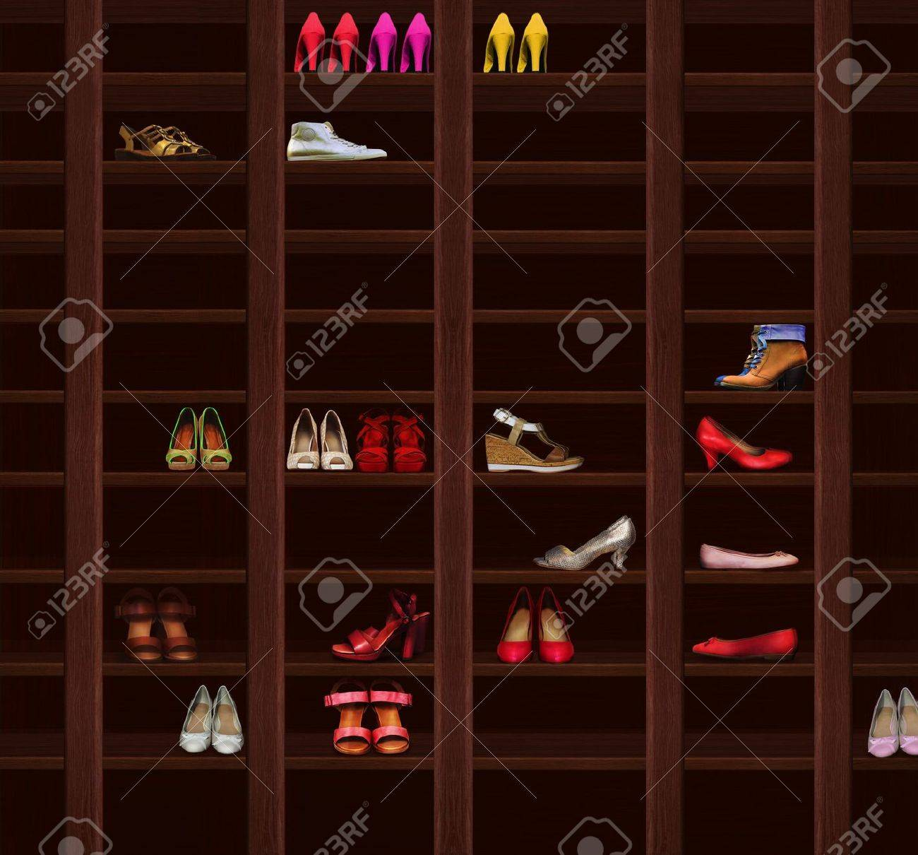 Wardrobe. Brown Wood Shelves with Women's Shoes. Fashion Stock Photo - 19758666