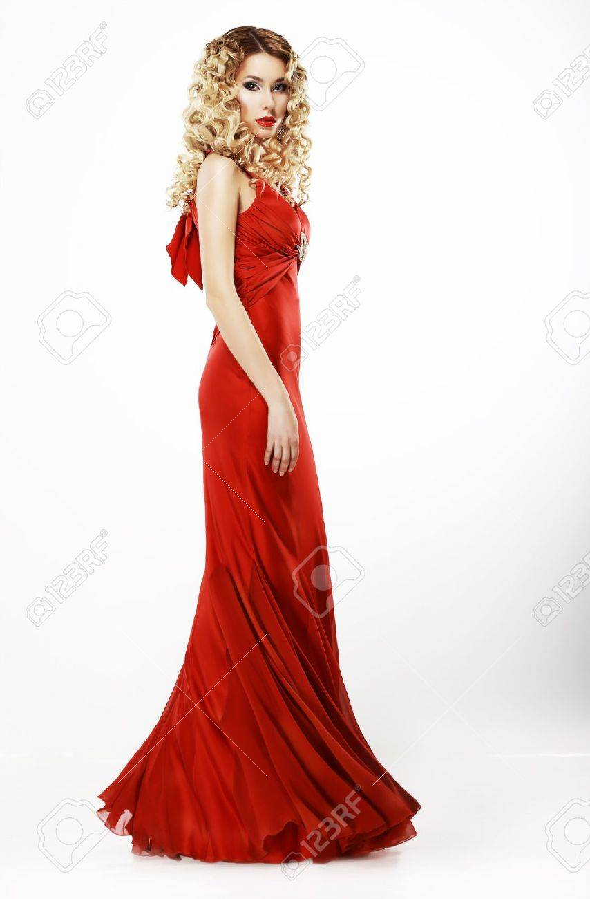 Luxury  Full Length of Elegant Lady in Red Satiny Dress  Frizzy Blond Hair Stock Photo - 19725745