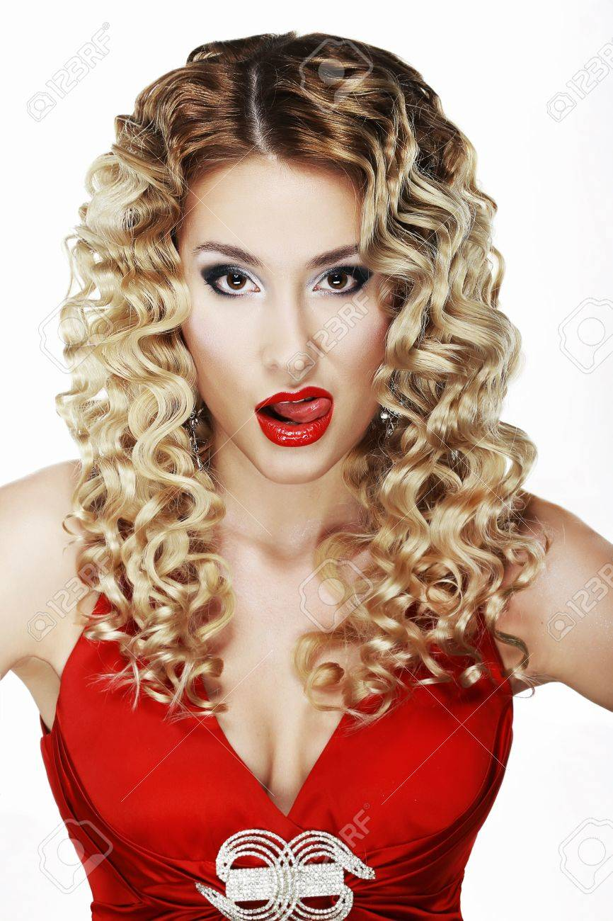 Provocative Classy Blond Licking her Red Sexy Lips Stock Photo - 20283271