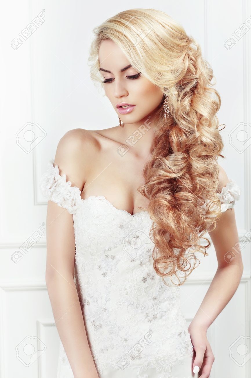 Wedding Hairstyle. Portrait Of The Bride. Long Blonde Hair, The ...