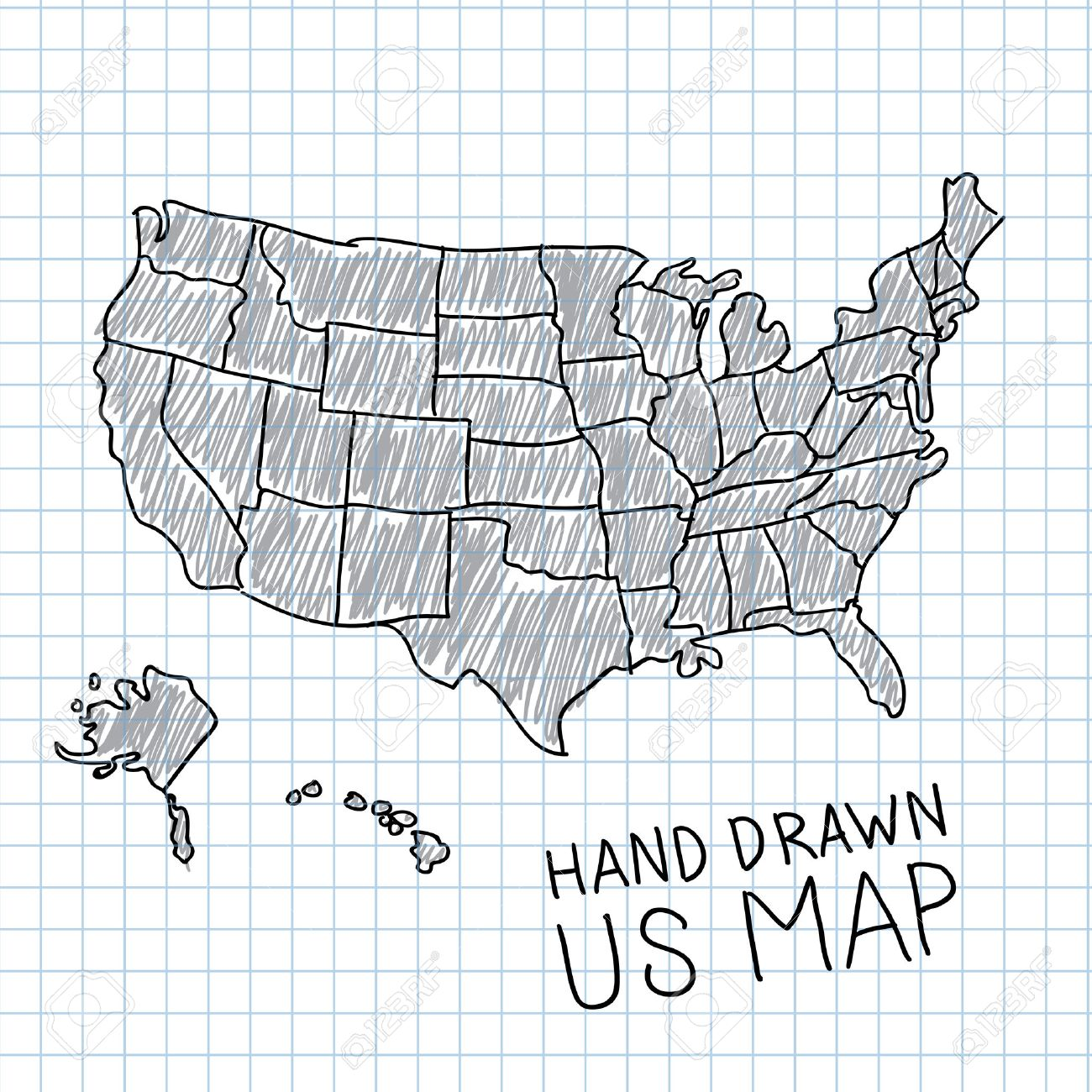 Hand Drawn US Map Vector Illustration Royalty Free Cliparts - Free us map vector