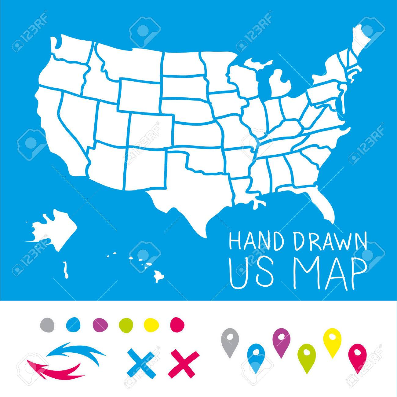 Hand Drawn US Map Whith Map Pins Vector Illustration Royalty Free - Hand drawn us map vector