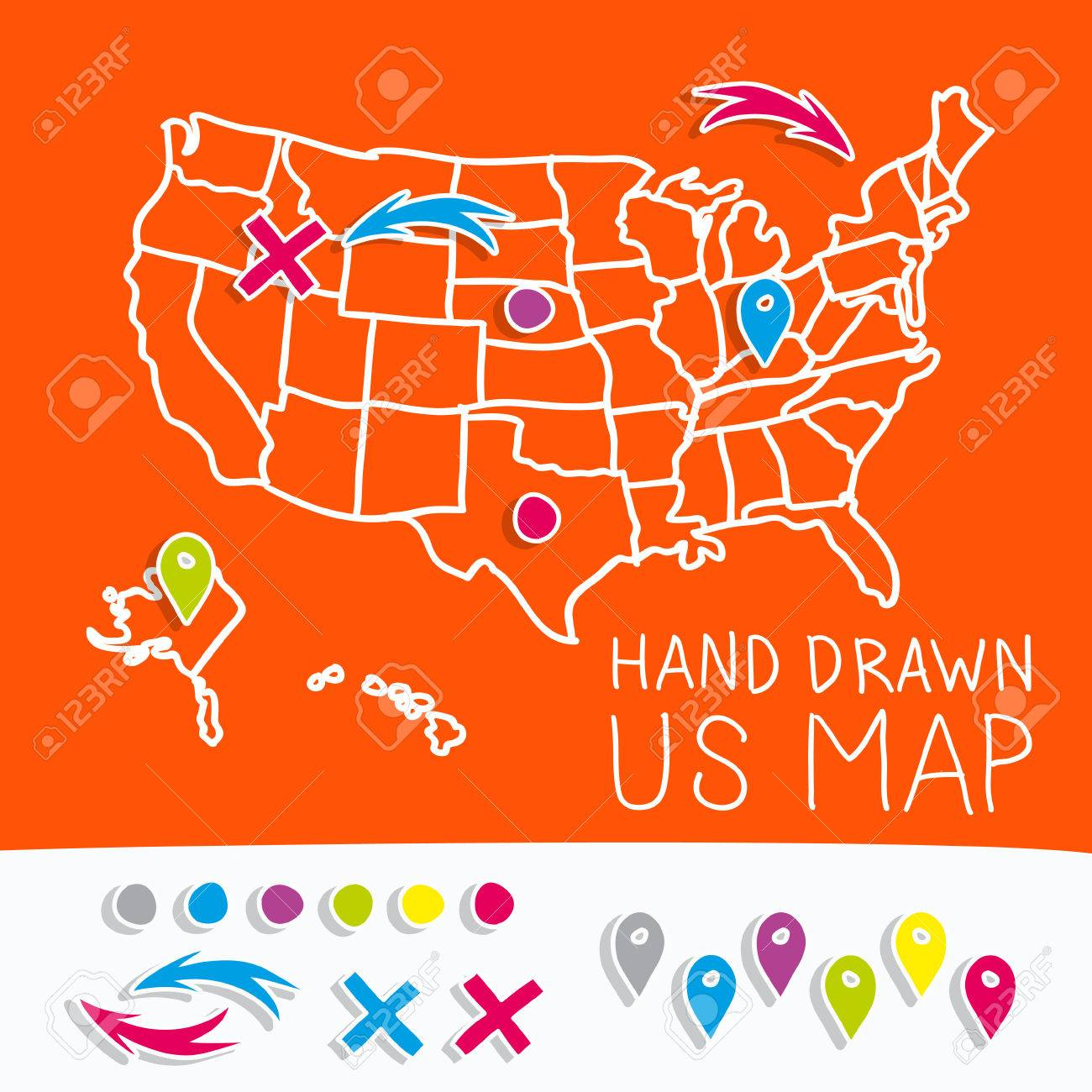 Hand Drawn Us Map.Hand Drawn Us Map Whith Map Pins Vector Illustration Royalty Free