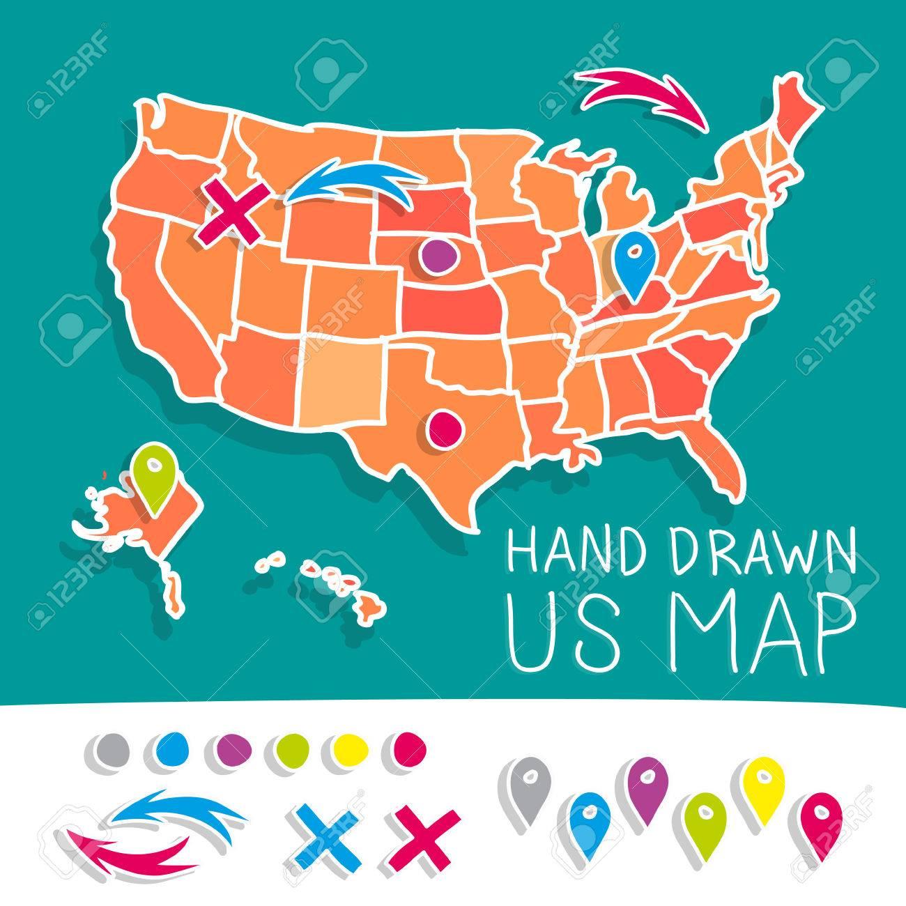Hand Drawn US Map Vector Illustration Royalty Free Cliparts, Vectors ...