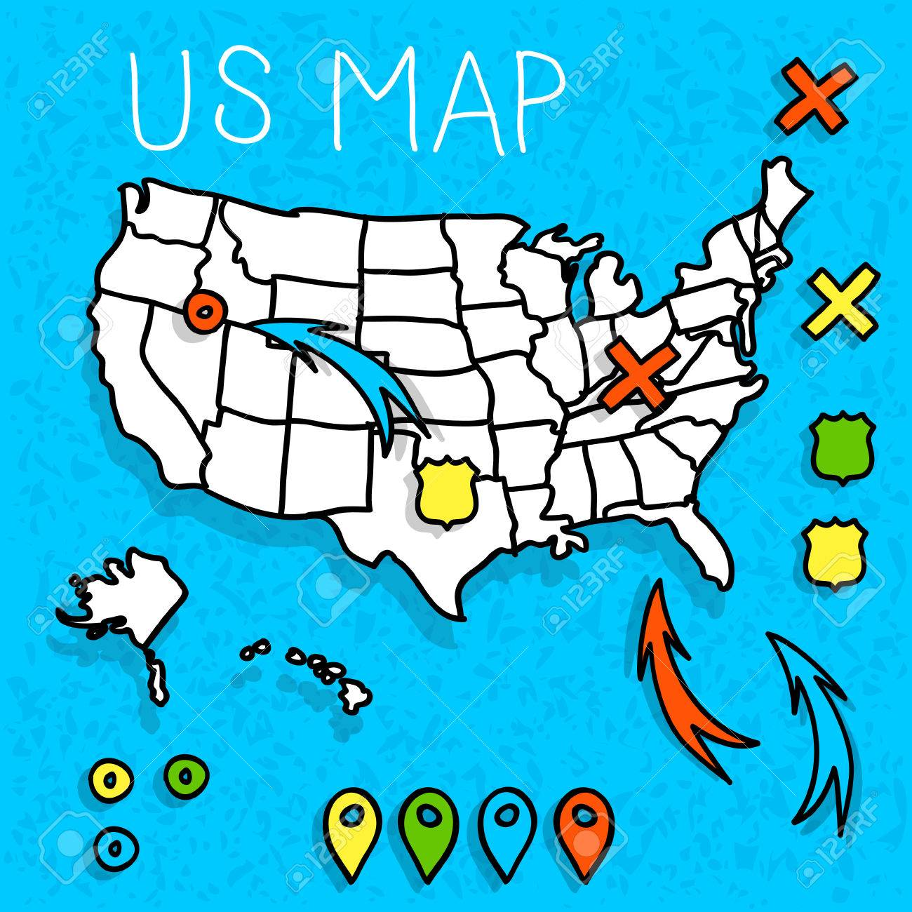 hand drawn us map whith map pins vector illustration royalty free