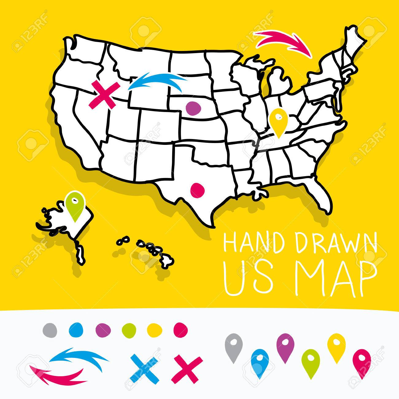 Hand Drawn Us Map.Yellow Hand Drawn Us Map Whith Map Pins Vector Illustration Royalty